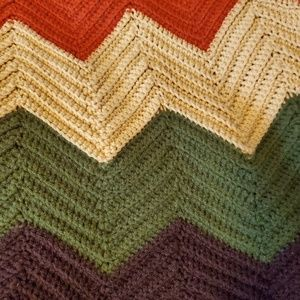 Vintage Hand Made Afghan Throw Blanket Fall Colors